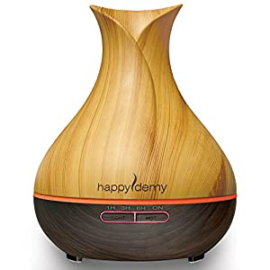 Ultrasonic Oil Diffuser 400 ml, Humidifier with Timer - for Essential Oils Aromatherapy, Up to 14 Hours Mist, 7 Colors, Waterless Auto OFF, Wood Grain Tulip by HappyDemy