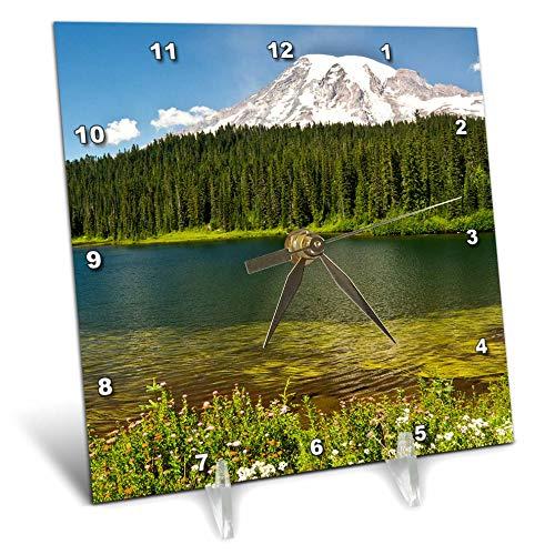 (3dRose Danita Delimont - Washington - Mount Rainier, Reflection Lakes, Washington State, USA - 6x6 Desk Clock (dc_315176_1))