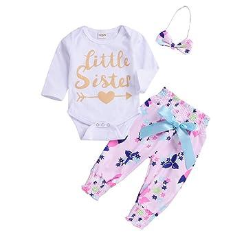 f996884bc3b6 Cyhulu 3PCS Toddler Infant Baby Girls Outfits Clothes Romper Jumpsuit  Bodysuit+Floral Print Pants+