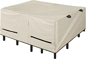 Porch Shield Patio Table Cover - Waterproof Outdoor Dining Table and Chairs Furniture Set Cover Square - 84 x 84 inch, Beige