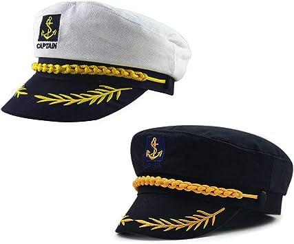 ISKYBOB 2 Piezas Sombrero del Capitán Marinero de Barco Yate Bote ...