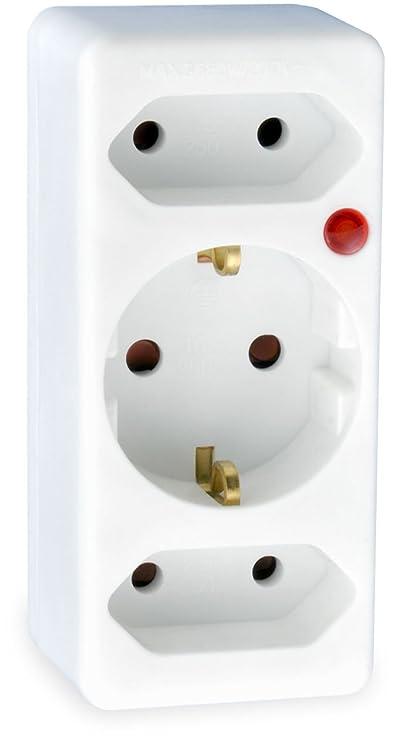 SKT TZU00503 Überspannungs-Schutz-Adapter 3-fach Steckdose mit Kindersicherung weiß