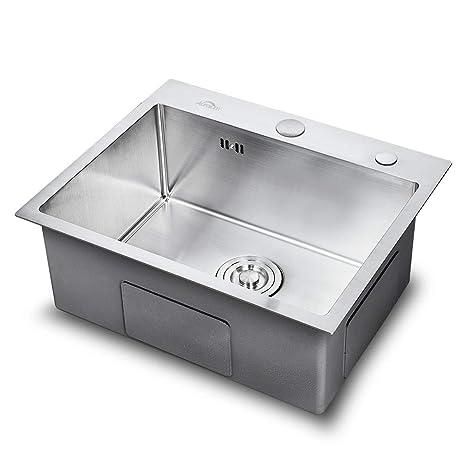 Auralum - Fregadero Cocina Un Seno (55 x 45cm) de Acero Inoxidable Cepillado 304 Fregaderos Acero con 2 Orificio de Montaje para Cocina