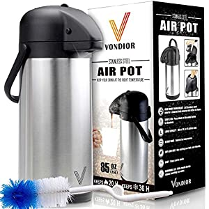Thermal Coffee Airpot - Beverage Dispenser (85oz.) By Vondior - Stainless Steel Urn For Hot/Cold Water Or, Pump Action, Party Thermos Carafe, Bunn Cleaning Brush Bonus, Lid Pitcher