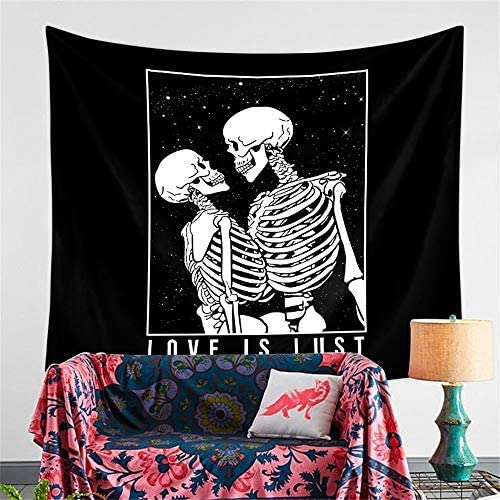 SWECOMZE Skull Tapestry Tapestries Wall Hanging Kissing Lovers Human Skeleton Black Tarot Home Decor A,59.1inch X 78.7inch