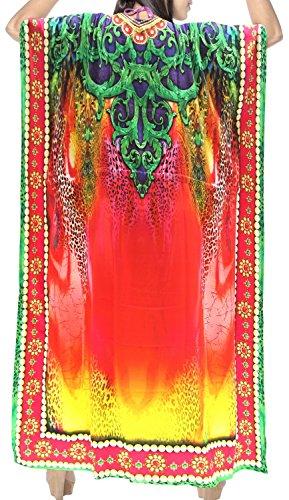 aloha abito caftano nightwear LEELA bagno Multicolore v554 caftano delle mano LA rayon maxi costumi da beachwear donne xWRqwggCXU