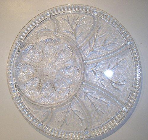 Vintage Deviled Egg Oyster Relish Platter Serving Tray in Pebble Leaf By Indiana Glass 0194
