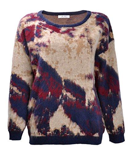 ZLYC Women Sunset Glow Dip Dye Knitted Long Sleeve Pullover Jumper Casual (Sunset Dip Dye)