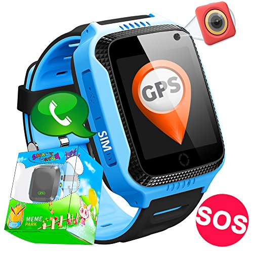 GBD Kid Smart Watch Phone GPS Tracker for Boys Girls Game Smartwatch Sport Wrist Watch with Camera Pedometer SOS Alarm Clock Summer Outdoor Camping Birthday Gifts (Blue) (Wrist Gps Tracker)