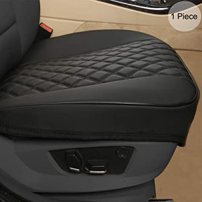 """Black Panther PU Car Seat Cover, Front Seat Protector Compatible with 90% Vehicles,Diamond Pattern Embroidery,Anti-Slip & Full Wrapping Edge (W 21.26''×D 20.86"""")(1Piece,Black): Automotive"""