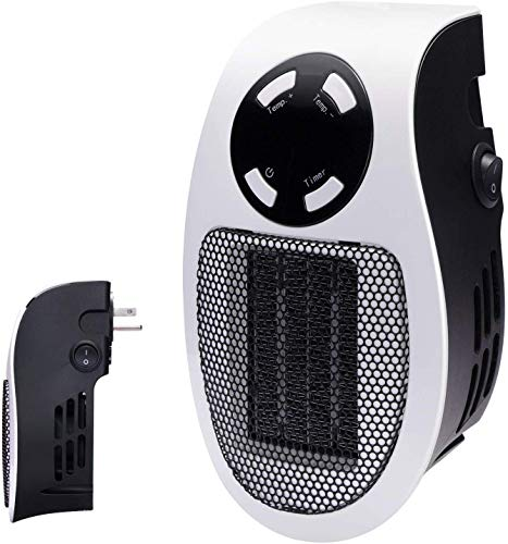 350W Space heater, Programmable Wall Outlet Space Heater As Seen on TV with Adjustable Thermostat and Timer and Led…