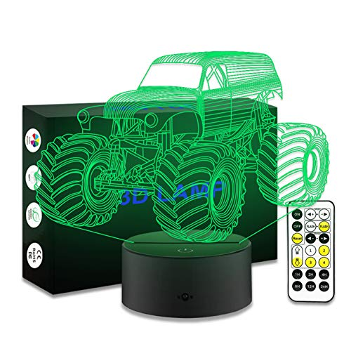 Monster Truck,Remote Control Monster Truck Night Light with Timer Remote 7  Colors Adjustable Monster Truck Toys for Boys Age 1 2 3 4 5 6 7 Year Old