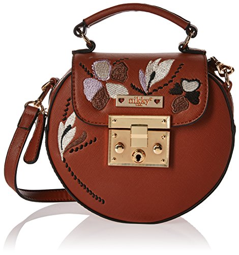 Nikky Women's Round Embriodered Floral Design Crossbody Cross Body Bag, Brown, One Size by Nikky