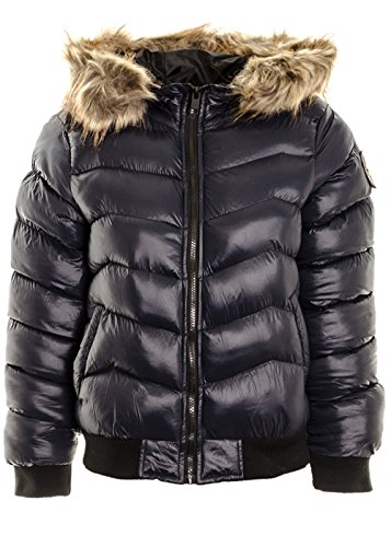Coat Jacket Badge Puffer Navy Quilted Women's Hooded Padded Faux Bommer Winter Fur Jacket 4qtZdxw