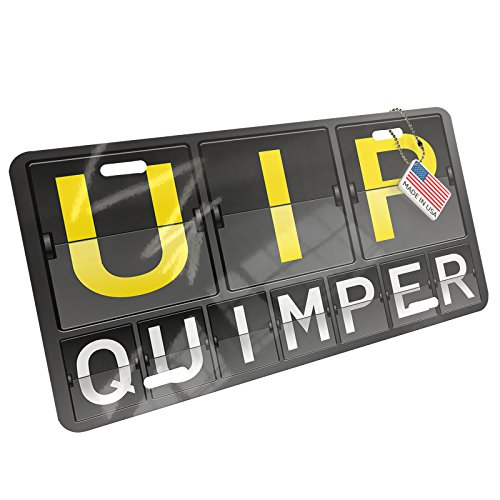 Metal License Plate UIP Airport Code for Quimper - Neonblond
