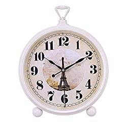 Mantle/Desk Clock Living Room Creative Desk Decoration Mute Clock Digital Clocks, White, 33×22×5.5cm