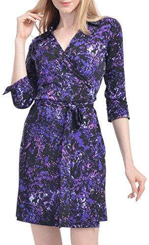 Women's Summer Satin V Neck Floral Split Short Dress Elegant Wrap Dresses(Sky Purple-L)