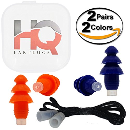 Silicone Ear Plugs with Cord - Reusable - Hearing Protection NRR 29 - Waterproof - Small & Regular Size for Sleeping, Snoring, Swimming, Work, Shooting, Concert, Travel by HQ Earplugs (2Pack-B/O) by HQ-Earplugs