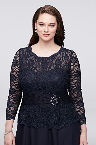 Style Groom Long Navy Bridal Lace Dress Size Bride 757727D Sleeve Mother Glitter David's Plus wUxqBxP