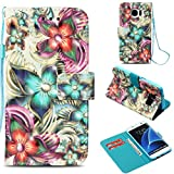 Galaxy S7 Edge Case,Anti-Scratch Full Cover Pu Leather Wallet Case Dust Proof Lightweight with Inner Bumper Credit Card Holder with Wrist Strap Kickstand Case for Samsung Galaxy S7 Edge -Kaleidoscope