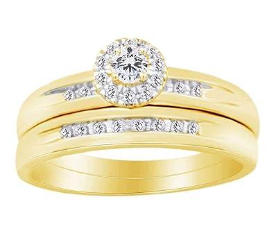 Juego de anillos de boda con forma redonda de diamante blanco natural (0,30 quilates) en oro amarillo sólido de 10 ct YG-Z1/2: Amazon.es: Joyería