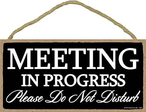 Honey Dew Gifts Meeting in Progress Please Do Not Disturb - 5 x 10 inch Hanging Door Sign for Office Commerical Use ()