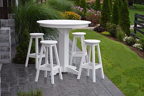 A&L Furniture Amish-Made Poly Outdoor Dining Set: Round Bar Table and 4 Bar Stools, Cedar (Bar Cedar Round Stool)