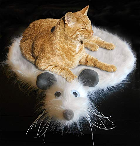 Kitty's Mouse Skin Rug (Cat Bed) White, Naturally attracts and Calms Cats | Cute Unique Space-Saving Design for Sofa, Bed or Floor | Luxurious Long Fur mimics Natural | Small Medium Large Sized