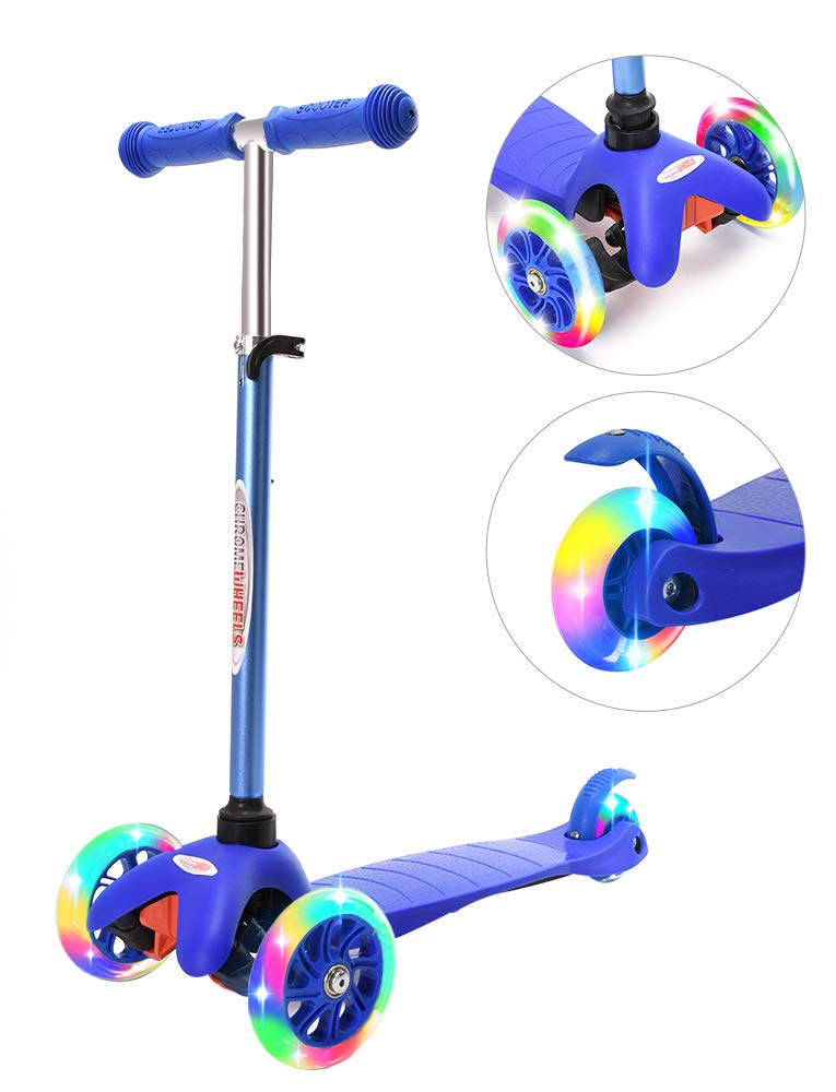 ChromeWheels Scooter for Kids, Deluxe 4 Adjustable Height 3 Wheels Glider with Kick Scooters, Lean to Steer with LED Flashing Light for Kids 3-6 Years Old Girls Boys Toddlers, Blue