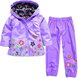 Vovotrade Girls Boys Windbreaker Jacket Printed Raincoat Trench Coat+Pants Waterproof Suit(Purple,90)