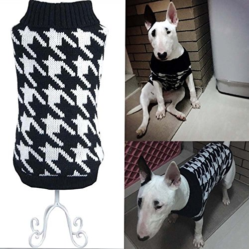 Bolbove Pet Houndstooth Turtleneck Sweater for Small Dogs & Cats Knitwear (Black, Small) (Bed Small Black Check)