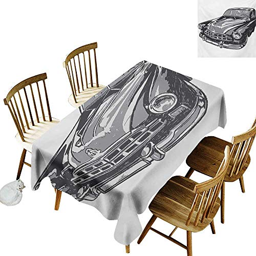 (Cranekey Hall Rectangular Tablecloth W52 x L70 Cars Hand Drawn Vintage Vehicle with Detailed Front Part Hood Lamps Rear View Mirror Grey Blue Grey Great for Wedding More)