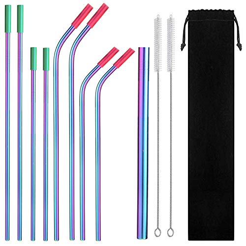 Eskyhouse Rainbow Colorful Stainless SteelStraws, 9Pcs Assorted Reusable Metal Drink Straws With Ultra Wide Metal Straw For Yeti 20oz 30oz 40oz Tumblers 8 Silicone tips 1 Pouch