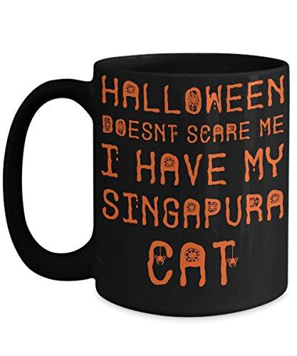 Halloween Singapura Cat Mug - White 11oz Ceramic Tea Coffee Cup - Perfect For Travel And Gifts -