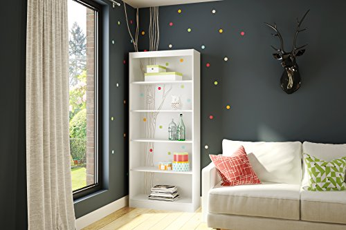 South Shore Axes 5-Shelf Bookcase with Birch Tree and Colored Dots Otto Graff Decals, Pure White