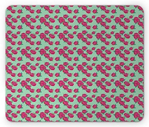 HUNAFIVG Peony Mouse Pad, Springtime Pattern with Pink Peony Bouquets on Pale Green Background, Standard Size Rectangle Non-Slip Rubber Mousepad, Hot Pink and Pale ()