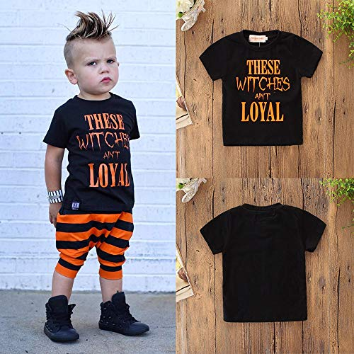 MOKO-PP Halloween Toddler Kids Baby Boys Letter Shortsleeve Tops Clothes Outfits(black,120) for $<!--$3.28-->