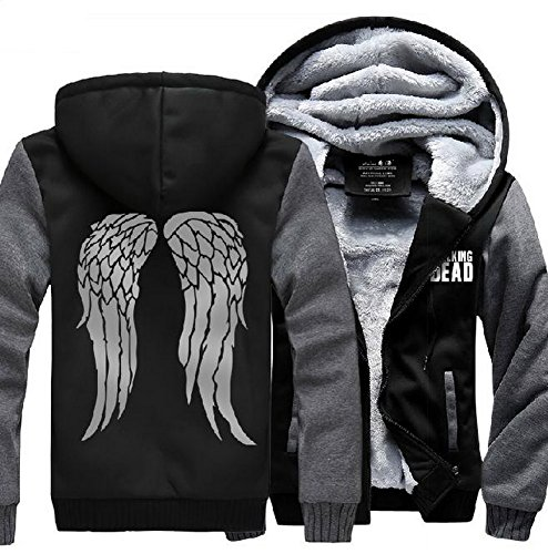 [XCOSER Unisex Angel Wings Hoodie Thicken Fleece Jacket Cosplay Black/Grey L] (Daryl Dixon Costumes)