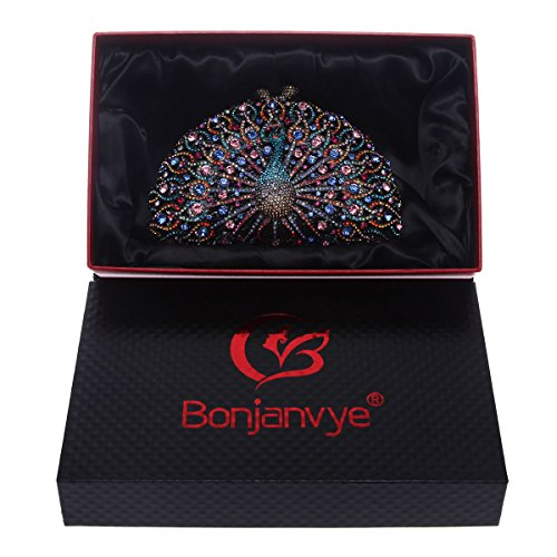 Bonjanvye Clutch Glitter Evening For Black Peacock Girls Bag Crystal r1rxnR4pH