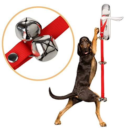 Color Scissor Puppies Dog Doorbells for Dog Housetraining and Housebreaking for Potty Training Your Puppy Red