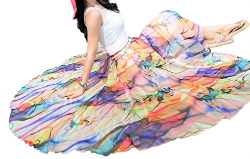 Afibi Women Full/Ankle Length Blending Maxi Chiffon Long Skirt Beach Skirt (Small, Design N(7)) by Afibi (Image #3)