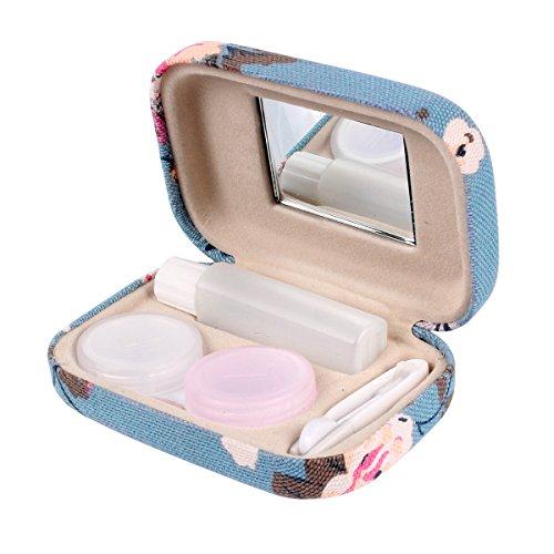 Ezeso Portable Travel Contact Lens Case Box Eye Care Kit Holder Mirror Box (Plum Blossom Pattern)