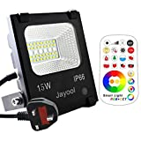 Jayool LED Floodlight Outdoor,15W Colour Changing Flood Lights with Remote, RGB + CCT(2800K - 6500K), 120 Colours, Warm White and Cool White Adjustable, Waterproof IP66, UK 3-Plug (1 Pack)