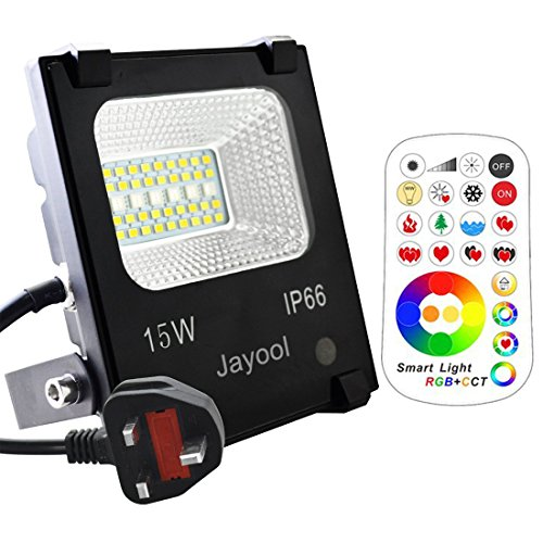 Jayool LED Floodlight Outdoor,15W Colour Changing Flood Lights with Remote,...