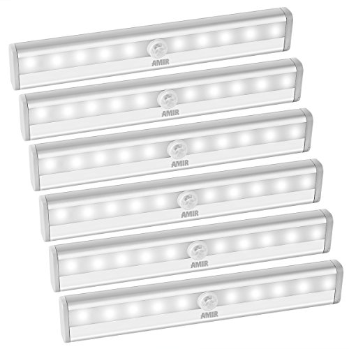 AMIR 10 LED Motion Sensing Closet Lights, DIY Stick-on Anywhere Portable 10-LED Wireless Cabinet Night/Stairs Light Bar with Magnetic Strip, Puck Lights (Battery Operated - 6 Pack)