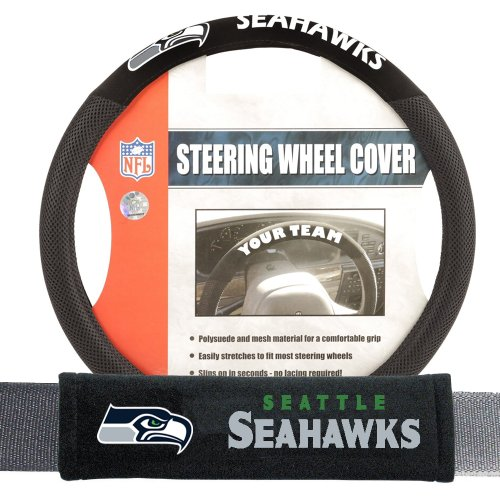 Seattle Seahawks NFL Steering Wheel Cover and Seatbelt Pad Auto Deluxe - Steering Cover Seahawks Seattle Wheel