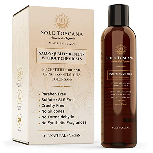 Sole Toscana Certified Organic Shampoo Sulfate and Paraben Free - All Natural, Color Safe, and Gentle on Curly Hair - Seed to Skin (8.45 Fl Oz / 250ml) (Best Certified Organic Shampoo)