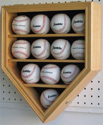 12 Baseball Display Case Holder Showcase w/ 98% Uv Protection, Locks, Oak Finish (B12-OA)