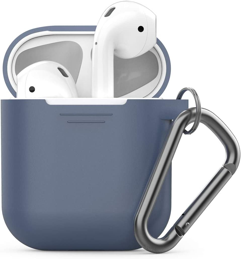 PodSkinz Keychain AirPods Case with Carabiner Compatible with Apple Airpods 1 & AirPods 2 [Front LED Not Visible] (Cobalt Blue)