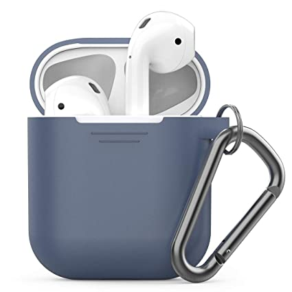 new product c3e54 71b14 PodSkinz Keychain AirPods Case with Carabiner Compatible with Apple Airpods  1 & AirPods 2 [Front LED Not Visible] (Cobalt Blue)